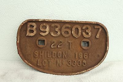 Cast Iron Wagon Plate Built By Br Shildon Works In 1961.