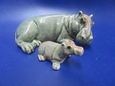 Klima Miniature Hippopotamus Female & Calf Klima Miniature Hippo Ornaments NEW