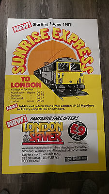 vintage 80s British rail services travel London Sunrise Express train poster
