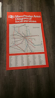 vintage 80s British rail services travel Manchester train map poster