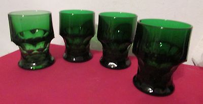 """Vintage Forest Green 4 1/4"""" Tall Juice Water Glasses with Cube Design Base"""
