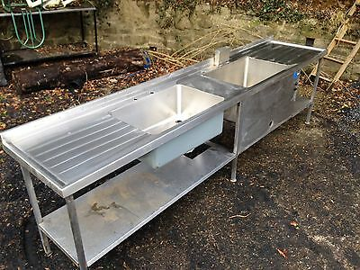 Commercial Stainless Steel Sink Double Industrial 3m Long