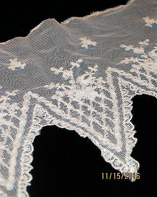 Unique Vintage Netting   Lace Long Pointed  Edge White Cotton Blend  Must See
