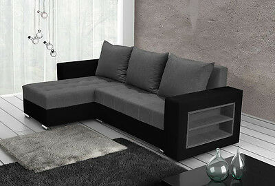 corner sofa bed grey fabric black faux leather left right shelves, new design!
