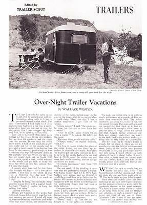 1937 Vintage Article Overnight Trailer Vacations Ads Camping Glamping