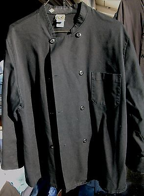 Chef Coat 2 Used Chef Designs Black Size Large Long Sleeve Cotton Blend