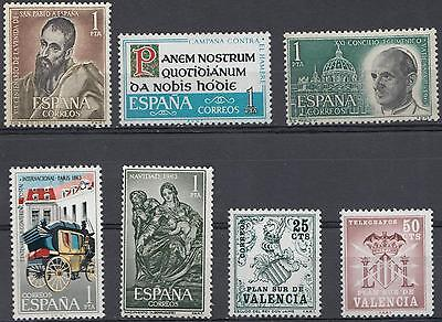 YG-A121 SPAIN - Selection, 7 Stamps, Pro Valencia 1963 MNH