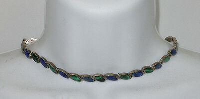 Vintage Sterling Silver Necklace Malachite Sodalite Stones W/ Safety Clasp Chile