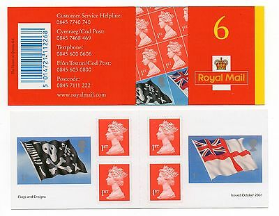 GB 2001 Flags & Ensigns Self Adhesive stamp booklet 6 x 1st class SG PM4. VGC