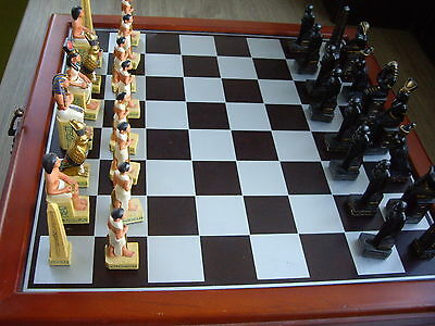 Egyptian Chess Set Wooden Boxed Resin Board Game