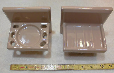 Vintage Ceramic…Spice Mocha…Sink Set…soap dish & cup holder...NOS