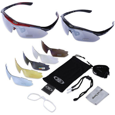 Mens Interchangeable 5 Lens Polarised Sport Cycling Skiing Sunglasses with Case