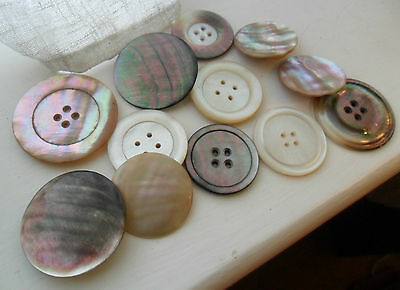 Vintage large lot of mother of pearl shell buttons HUGE BIG BUTTONS art deco etc