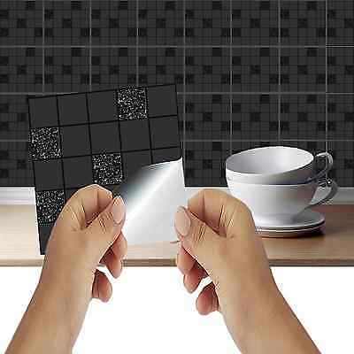 Black Mosaic Tile stickers Transfers KITCHEN BATHROOM TILES Marble Stone Effect