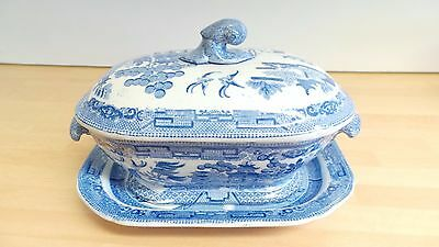 Regency Early C19th 1810-33 Spode Willow Pattern Blue & White Tureen & Stand