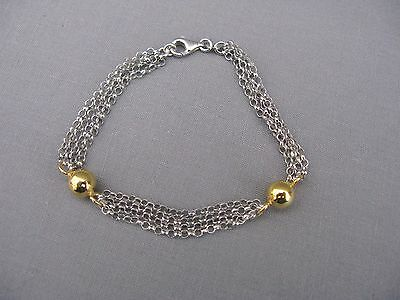 A simple stylish Sterling silver and gold chain and ball bracelet - NEW - 925