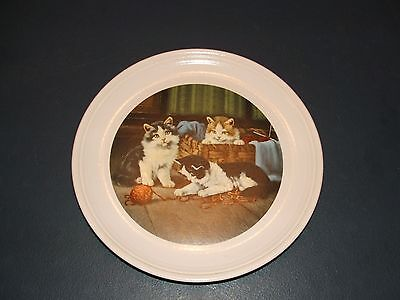 PURBECK POTTERY  DECORATIVE PLATE WITH CAT DESIGN - Playful Moments