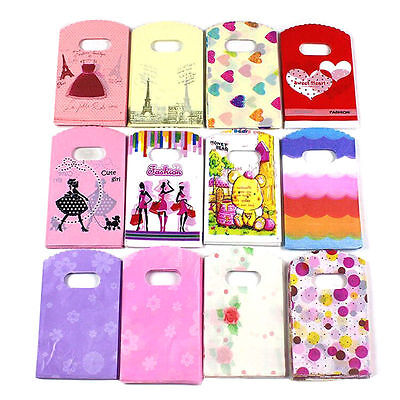 H 50X Wholesale Lot Pretty Mixed Pattern Plastic Gift Bag Shopping 15X9CM Lovely