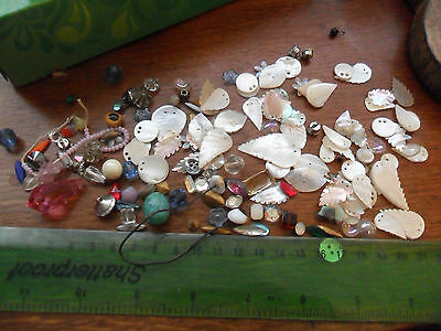 Vintage antique art deco etc mother of pearl shell glass stones beads jewellery
