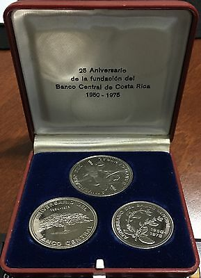 Costa Rica Set 3 Proof Coins Conmemorative 25 Years Fundation Bccr