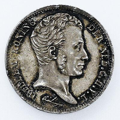 Very Rare 1829B Netherland Silver 1 One Gulden Coin