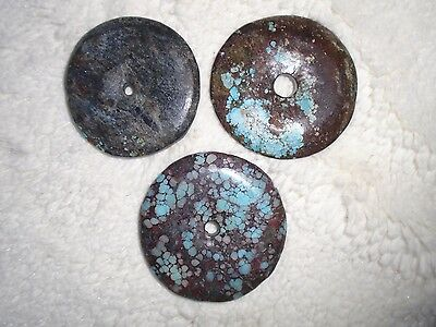 3 Vintage China Tibet Round Carved Turquoise Bi Disc Beads