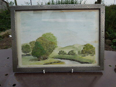 Vintage Hammered Pewter Picture Frame - Watercolour