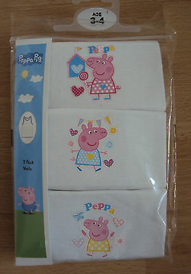 Peppa Pig Girls Pink/White Vest Underwear Pack of 3 Age 2 3 4 5  Years New