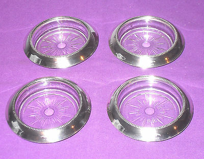 VINTAGE SET OF 4 FRANK M WHITING & Co STERLING SILVER & GLASS COASTERS ANTIQUE