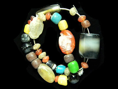 32 Assorted Old PYU Crystal Glass Carnelian DZI Agate Carved Beads Strand