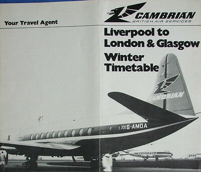 LIVERPOOL AIRPORT CAMBRIAN AIRWAYS TIMETABLE leaflet 1969 very rare ORIGINAL