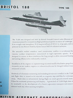BRISTOL 188 AIRCRAFT COMPANY  BROCHURE 1960s ORIGINAL STORED FOR 40+ YEARS