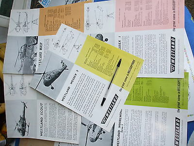WESTLAND HELICOPTER  AIRCRAFT LEAFLETS 1960s ORIGINAL  STORED 40+YEARS