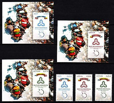 "Latvia / Lithuania / Estonia - 2016 ""25th Anniv Baltic Assembly"" Joint Issue MNH"