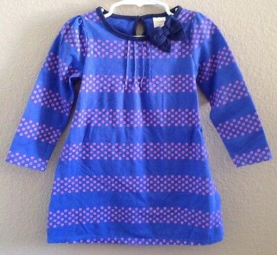 Nwt Gymboree Toddler Girls Size 6-12 Months Blue & Pink Long Sleeve Dress