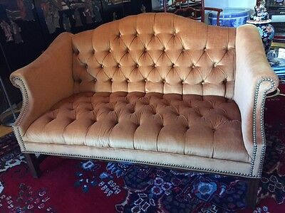 Tufted Camelback Settee Loveseat in Velvet - Excellent and Rare
