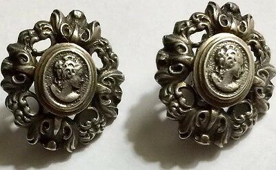 Vintage 100 % Sterling Silver Cameo Clip On Earrings 925 Nice!!