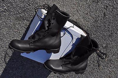 US Army Black Mildew & Water Resistant Combat Boots All Leather Men's 10.5 R NEW