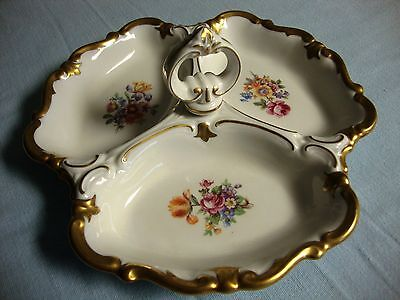 """Reichenbach Fine China Porcelain  3 Section Candy Dish 7.5"""""""