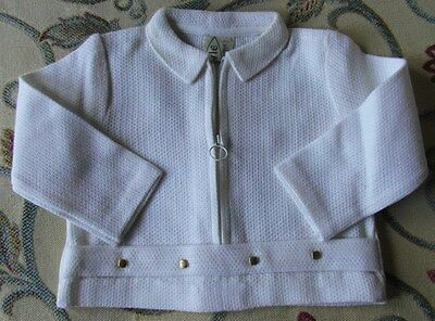 NEW Beautiful French Vintage White Baby Jacket 1970's Baby Clothes