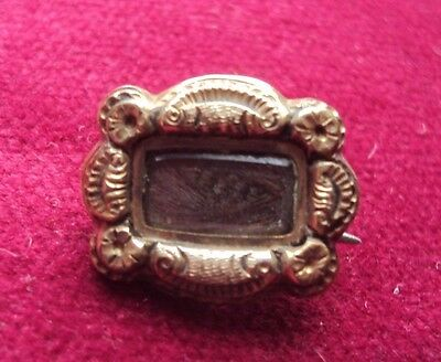 Small Antique Mourning Brooch / Badge With Lock Of Hair