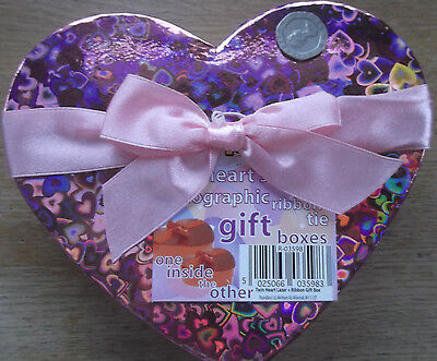 2 Heart Shaped Holographic New Gift Boxes With Ribbon Ties