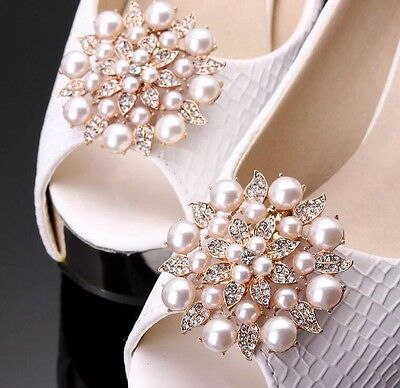 Rose Gold And Crystal Shoe Clip On Buckle