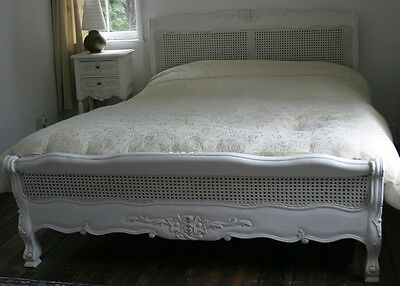 """Mahogany Louis Rattan 4' 6"""" Double Low French Style Bed Antique White Brand New"""