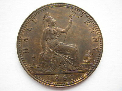 1860 Victoria Beaded Border Halfpenny A UNC F258