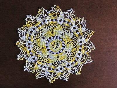 "Vintage Crochet Pineapple Doily - Yellow - White -  8""  Diameter"