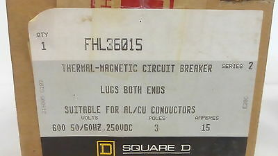 Square D Fhl36015 *new* Thermal-Magnetic Circuit Breaker 15A 3P 600Vac (1G0)