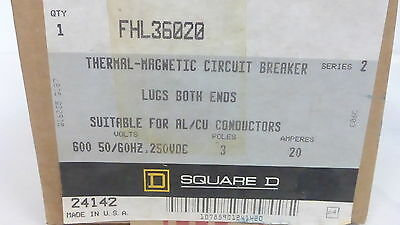Square D Fhl36020 *new* Thermal-Magnetic Circuit Breaker 20A 3P 600Vac (1G0)