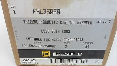 Square D Fhl36050 *new* Thermal-Magnetic Circuit Breaker 50A 3P 600Vac (1G0)