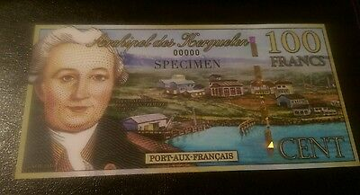 France/French 100 Francs uncirculated SPECIMEN Banknote. Mint Condition.